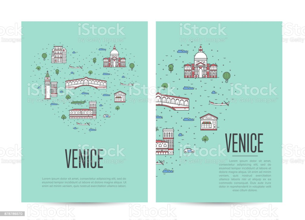 Venice travel tour booklet set in linear style vector art illustration