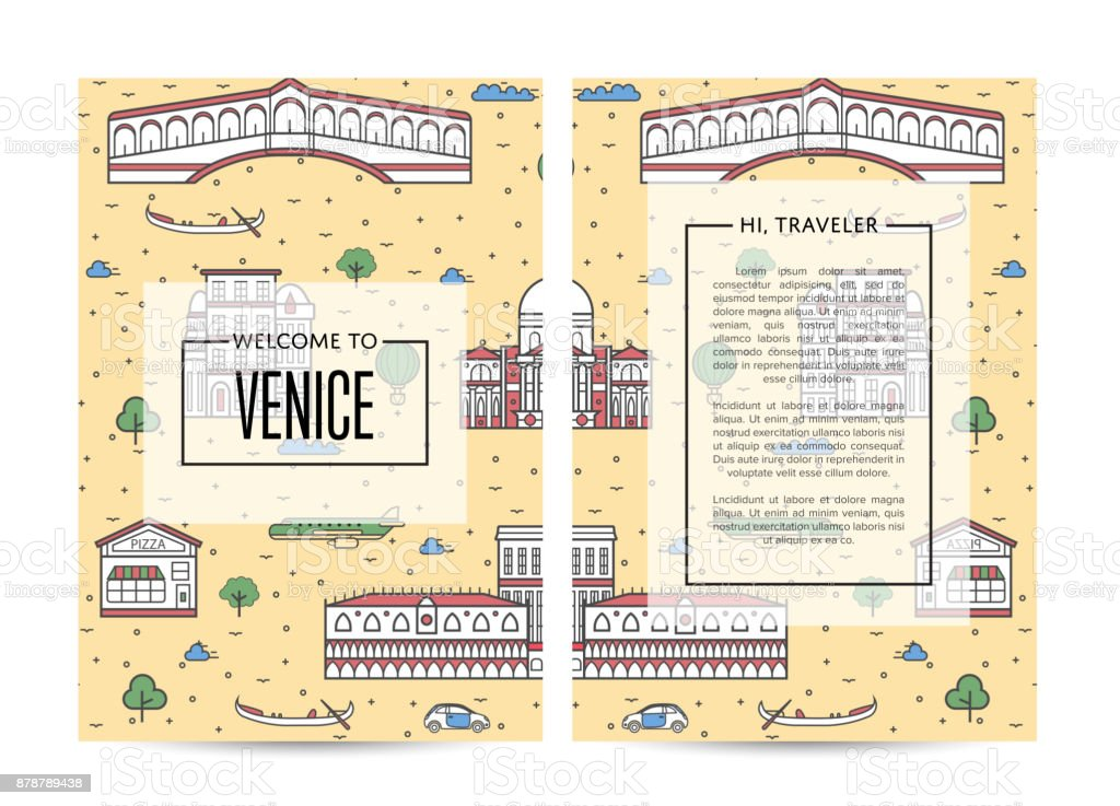 Venice traveling banners set in linear style vector art illustration