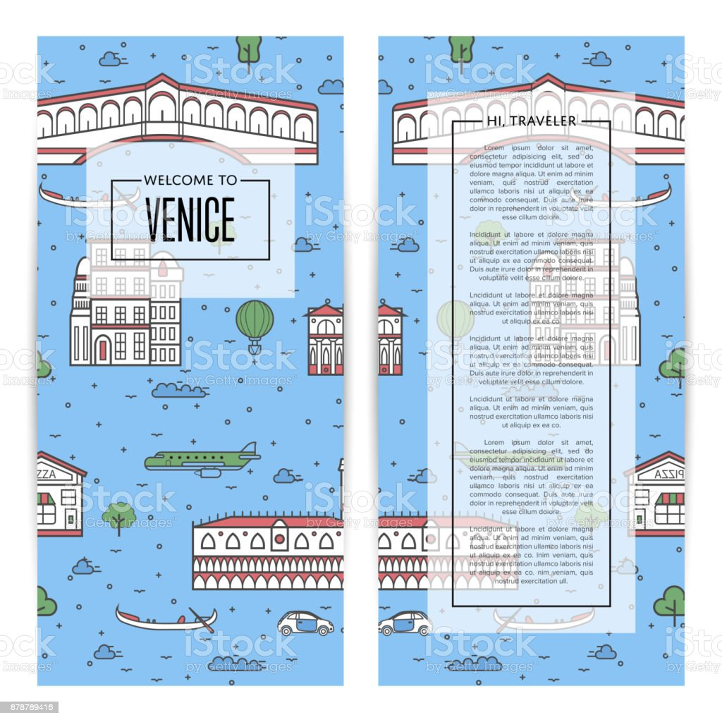 Venice traveling flyers set in linear style vector art illustration