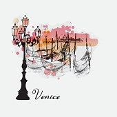 Vector watercolor Venice background