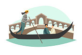 istock Venice vector illustration. Gondola on Canal Grande 1217561443