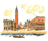 Venice. Watercolor and gouache paintings in vector format