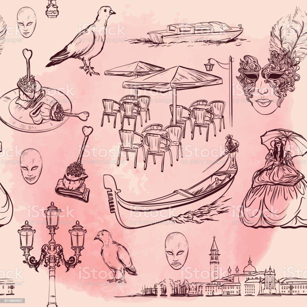 Venice Watercolor Seamless pattern vector art illustration