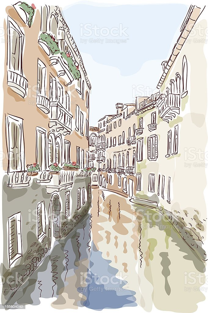 Venice. Watercolor style. royalty-free stock vector art