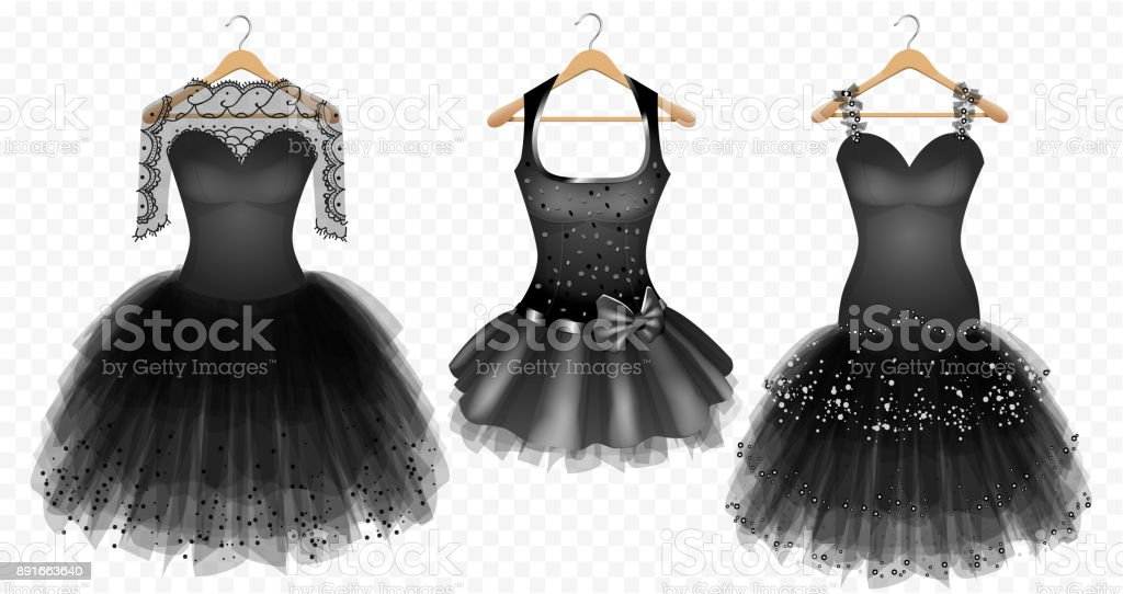 vening Black Dresses - ilustração de arte vetorial