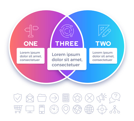Venn Diagram Infographic Two Subjects