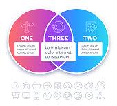 Venn diagram merging two topics into one design gradient infographic design.