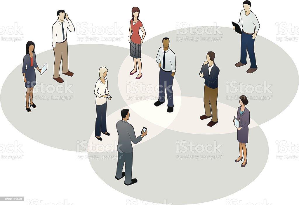 Venn Diagram People vector art illustration