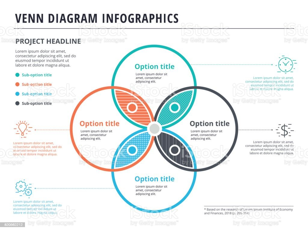 Venn diagram with 4 circles infographics template design vector venn diagram with 4 circles infographics template design vector overlapping shapes for set or logic pooptronica Choice Image
