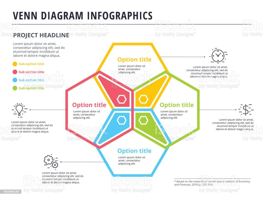 Venn diagram with 4 circles infographics template design. Vector  overlapping shapes for set or logic