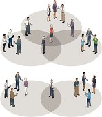 People stand on Venn Diagrams.