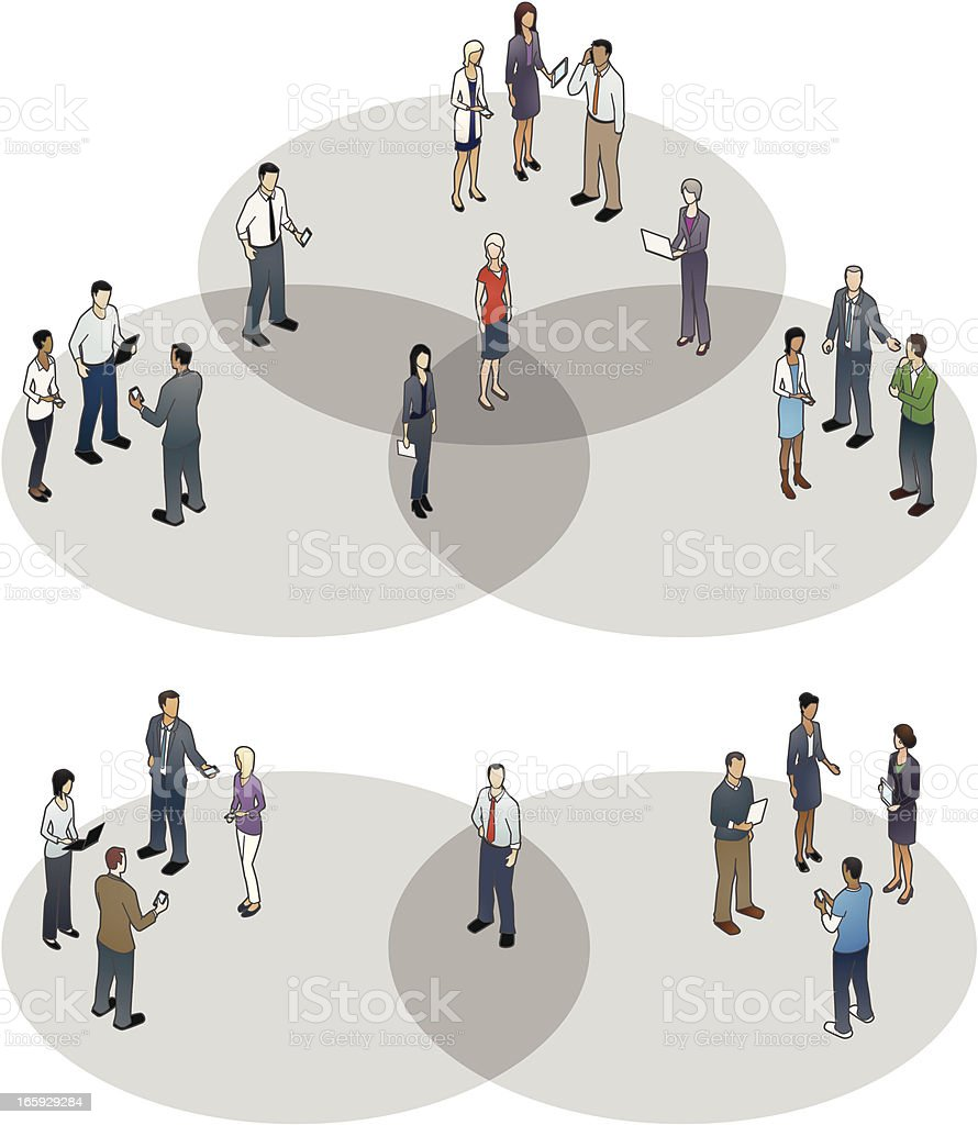 Venn Diagrams with People vector art illustration