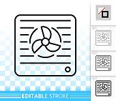 Vent simple black line vector icon