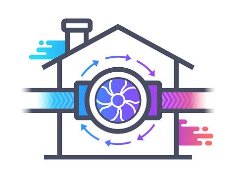 Ventilation Air Circulation HVAC Building Symbol Concept