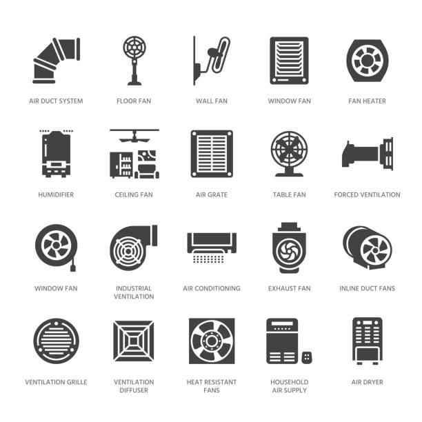 ilustrações de stock, clip art, desenhos animados e ícones de ventilation equipment glyph icons. air conditioning, cooling appliances, exhaust fan. household and industrial ventilator signs for appliance store. solid silhouette pixel perfect 64x64 - adeptos