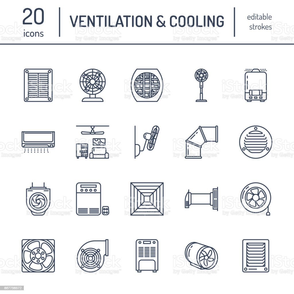Ventilation equipment line icons. Air conditioning, cooling appliances, exhaust fan. Household and industrial ventilator thin linear signs for store vector art illustration
