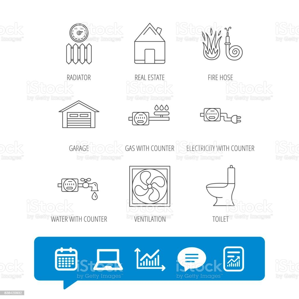 Ventilation Garage And Heat Radiator Icons Stock