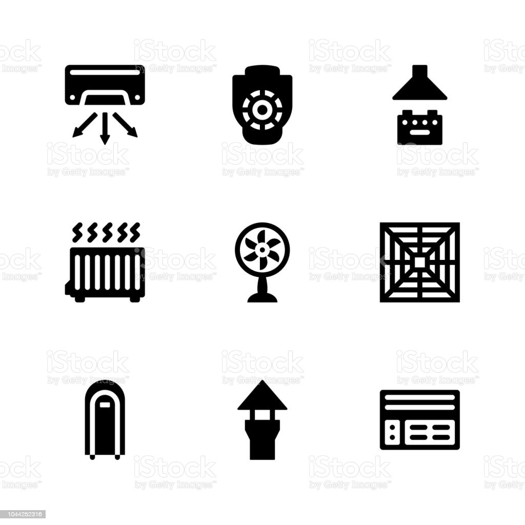 Ventilation Glyph Icons vector art illustration