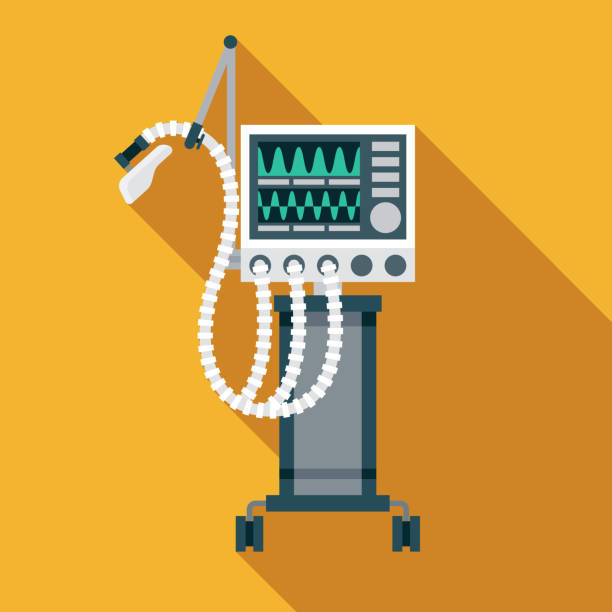 Ventilator Coronavirus COVID-19 Icon A flat design coronavirus COVID-19 ventilator icon with a long shadow. File is built in the CMYK color space for optimal printing. Color swatches are global so it's easy to change colors across the document. medical technical equipment stock illustrations