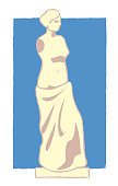 Venus de milo picture in simple style vector illustration. Greece greeting card design. Cartoon color drawing isolated on white background. Stylized history graphic art.