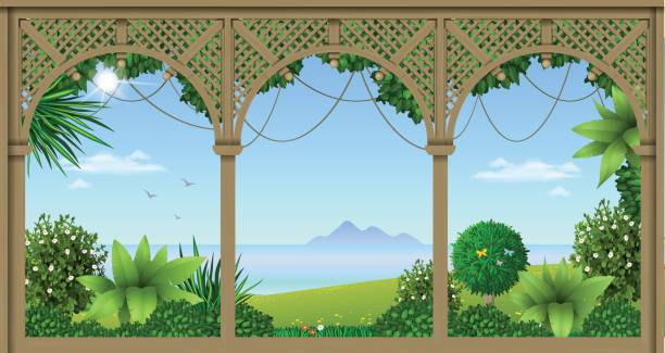 Veranda of a tropical hotel Wooden veranda of a tropical hotel or home. Gazebo or pergola. Vector graphics porch stock illustrations