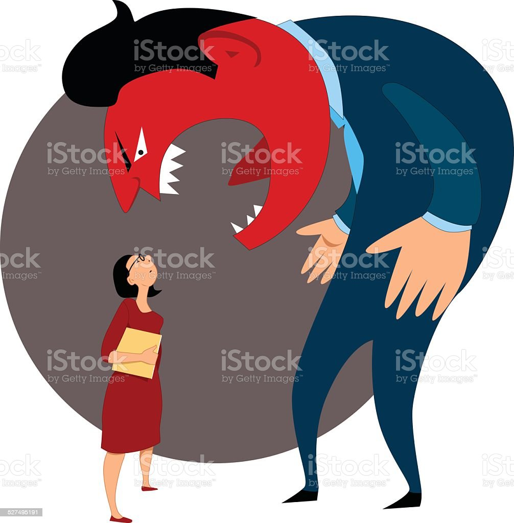 Verbal aggression against a female employee vector art illustration