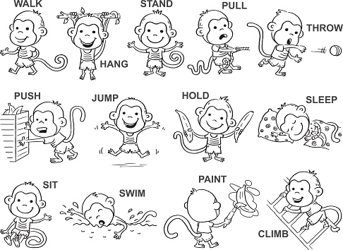 Verbs Of Action In Pictures Black And White Stock