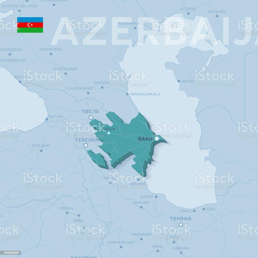 Verctor Map Of Cities And Roads In Azerbaijan Stock Vector Art