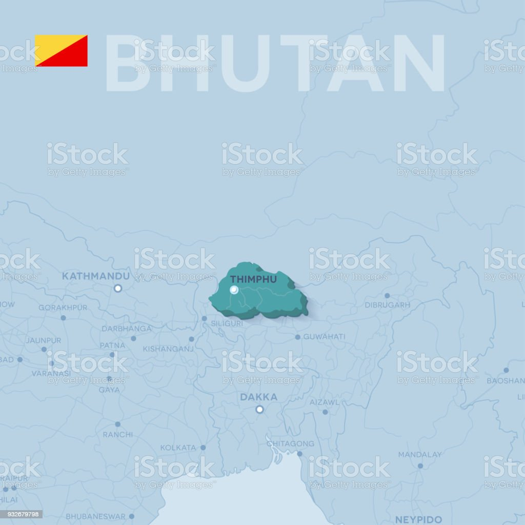 Map Of Asia Bhutan.Verctor Map Of Cities And Roads In Bhutan Stock Vector Art More
