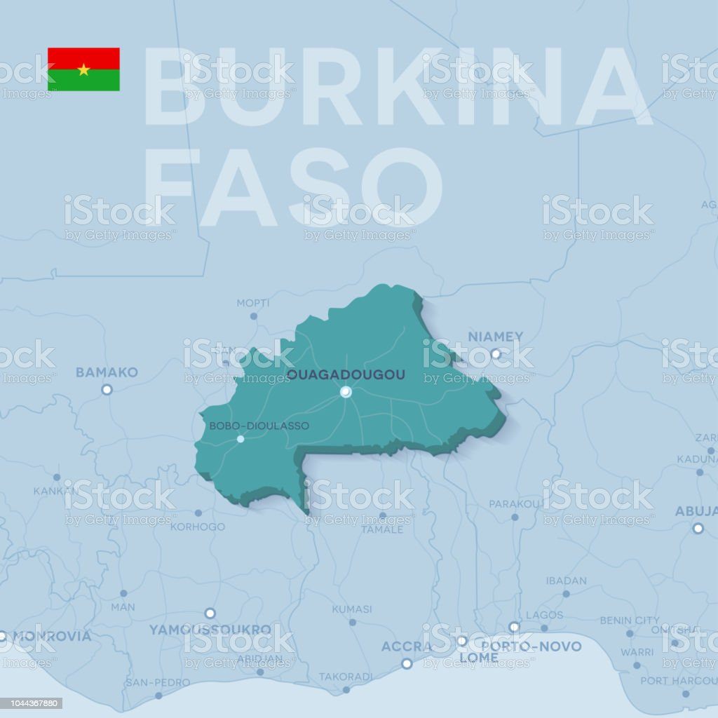 Verctor Map Of Cities And Roads In Burkina Faso Stock Vector Art
