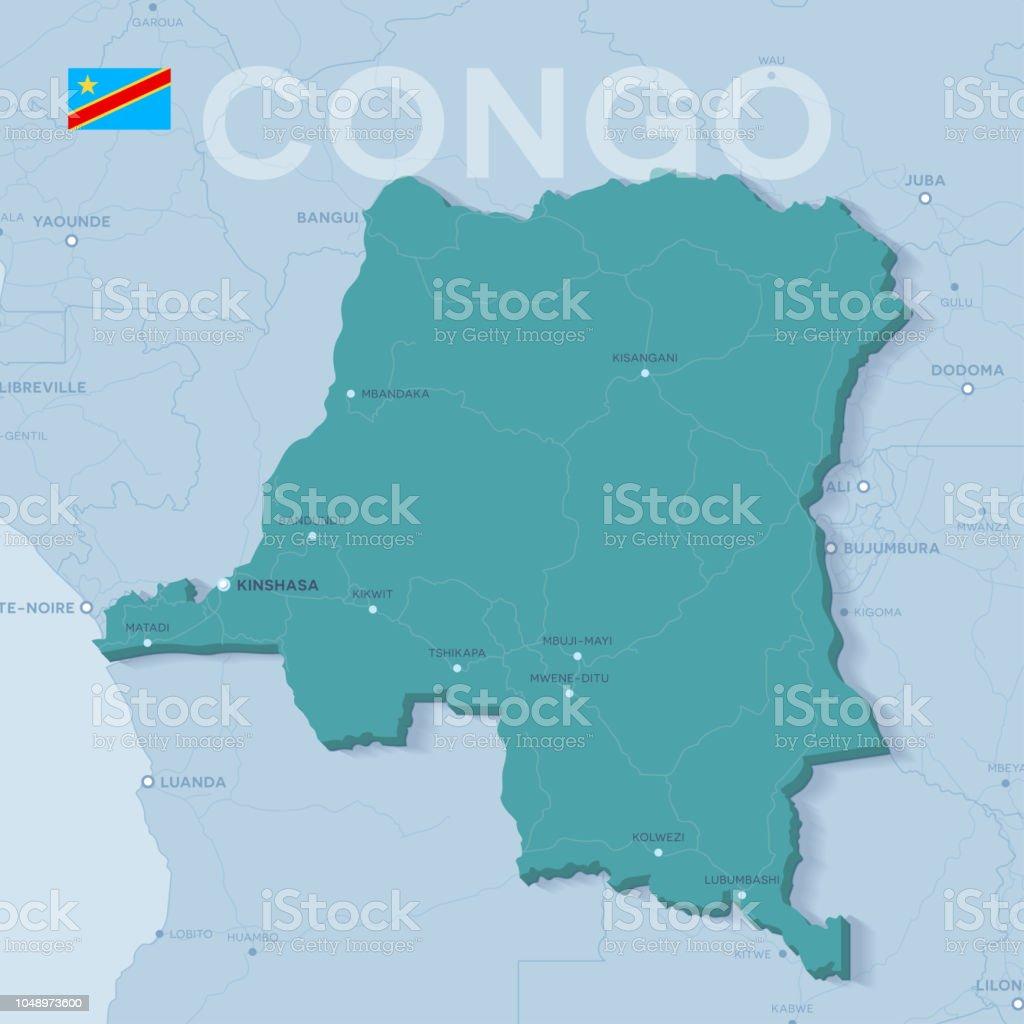 Verctor Map Of Cities And Roads In Democratic Republic Of Congo ...
