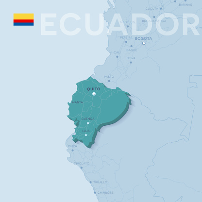 Verctor Map of cities and roads in Ecuador.