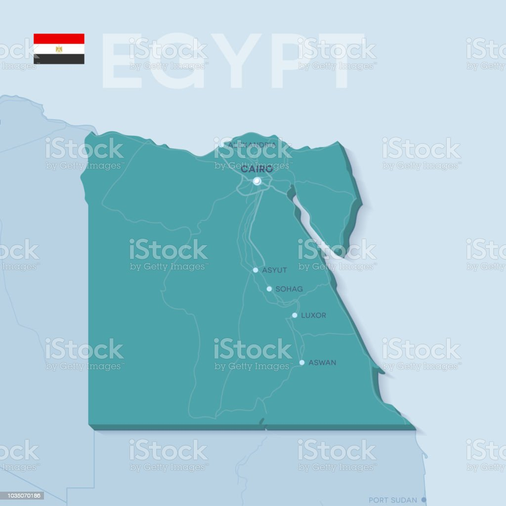 Verctor Map Of Cities And Roads In Egypt Stock Vector Art & More ...