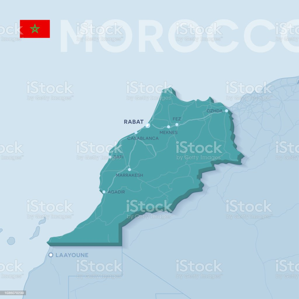 Verctor Map Of Cities And Roads In Morocco Stock Vector Art & More ...