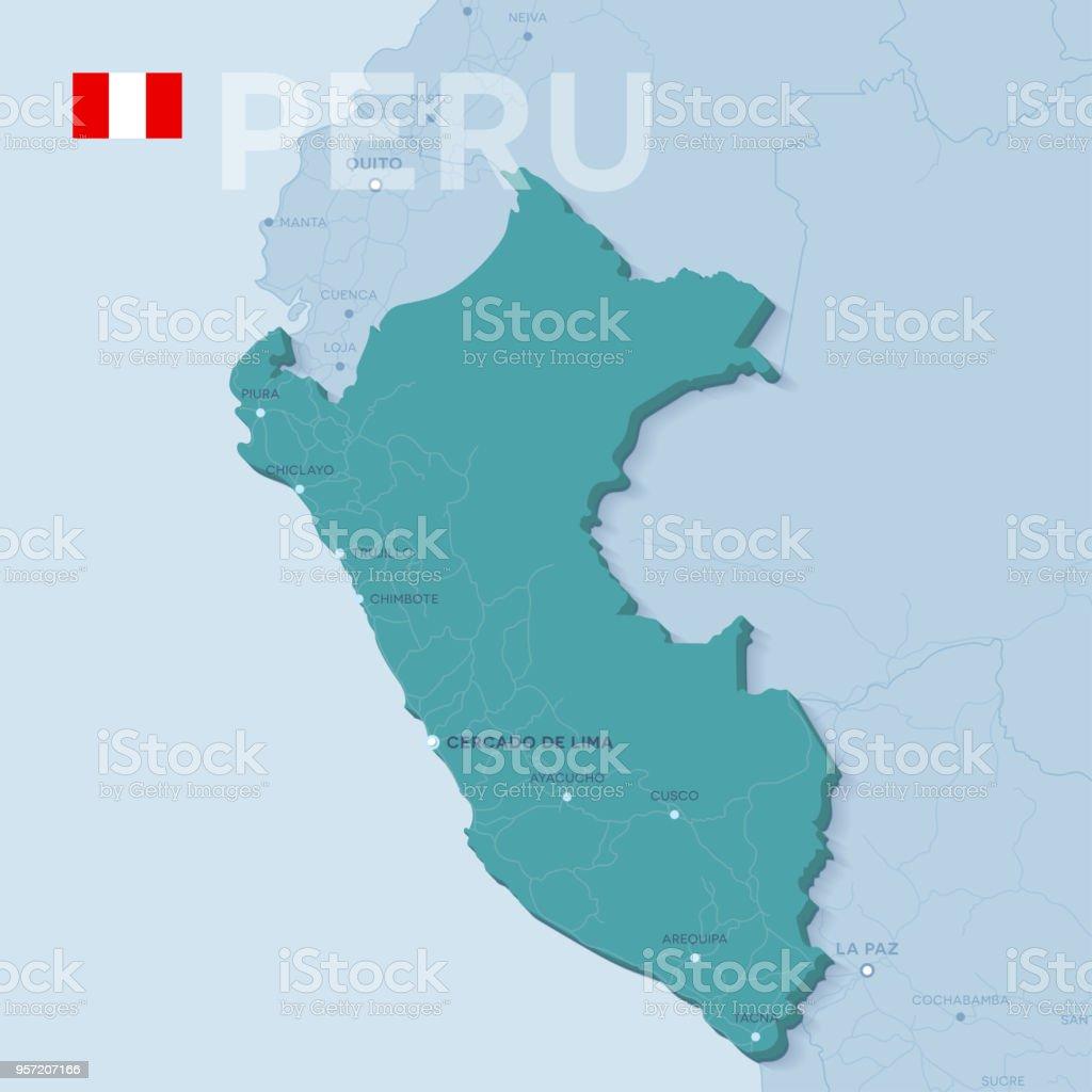 Verctor Map Of Cities And Roads In Peru Stock Vector Art & More ...