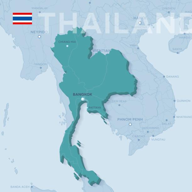 verctor karte von städten und straßen in thailand. - pattaya stock-grafiken, -clipart, -cartoons und -symbole