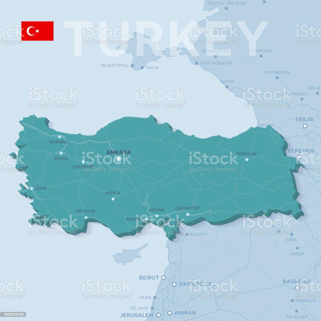 Verctor Haritası şehirler ve Türkiye'de yollar. vektör sanat illüstrasyonu