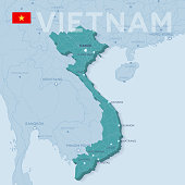 Verctor Map of cities and roads in Vietnam.