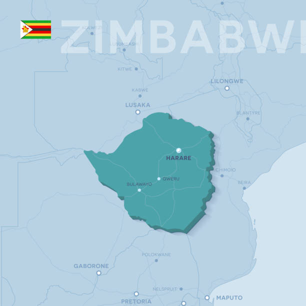 verctor karte von städten und straßen in simbabwe. - salisbury stock-grafiken, -clipart, -cartoons und -symbole