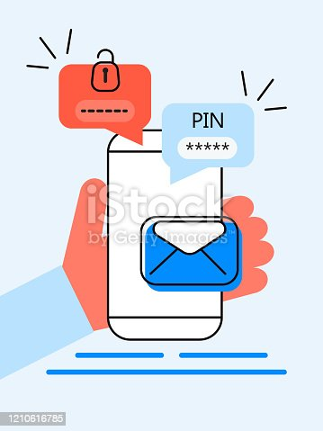 Verification pin code, security code message. Smartphone with e-mail, bubble chat. Verification online in control system for personal account, banking. Two step authentication vector.