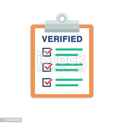 Document on clipboard with  checked list vector illustration