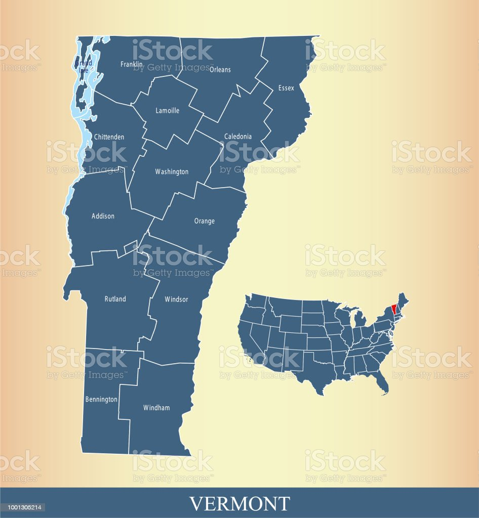 Vermont County Map Outline Vector Illustration Highlighted On Usa ...