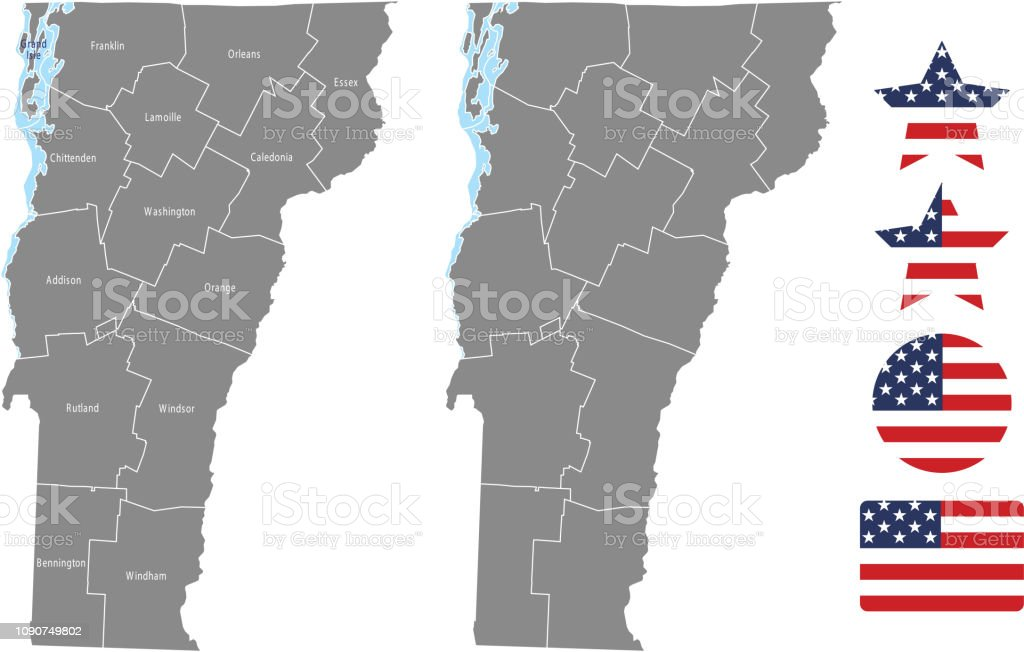 United States Map With County Names.Vermont County Map Vector Outline In Gray Background Vermont State