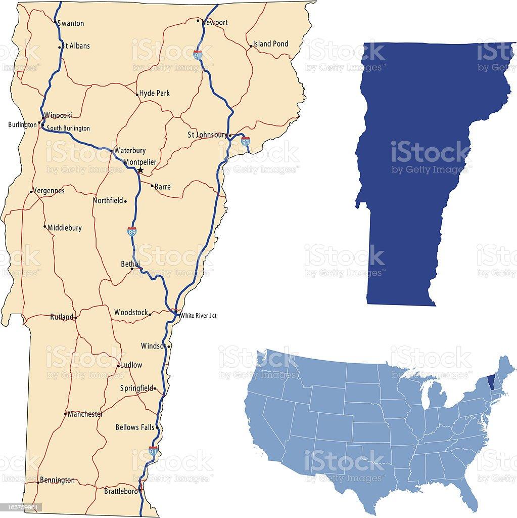 Vermont Road Map stock vector art 165759961 iStock
