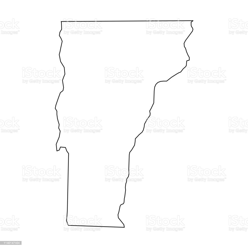 Vermont State Of Usa Solid Black Outline Map Of Country Area