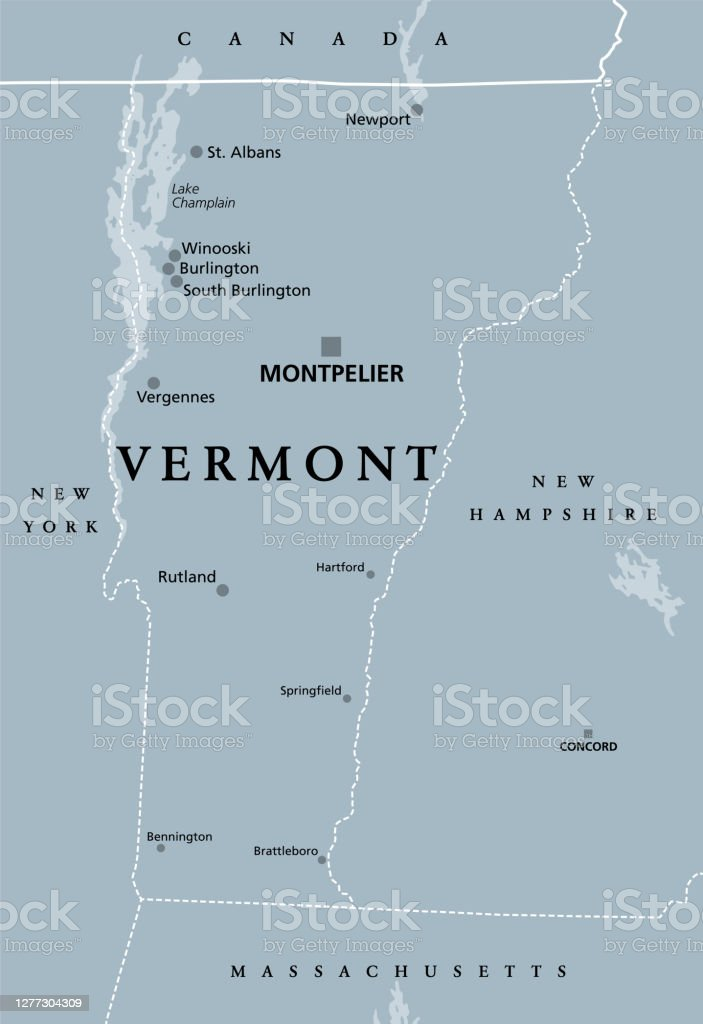 Image of: Vermont Vt Gray Political Map The Green Mountain State Stock Illustration Download Image Now Istock