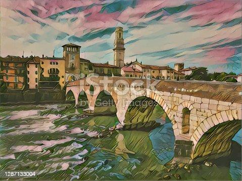 istock Verona color painting illustration 1287133004