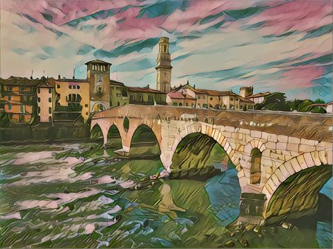 Vector illustration of the Italian city of Verona. Color painting style.