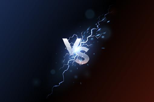 Versus banner with blue sparkling lightning