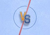 Versus battle of Hockey championship background vector illustration Scratched texture of the ice arena skates template
